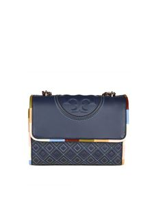 Tory Burch - Borsa a tracolla Fleming Piping blu