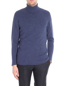 Etro - Blue denim cashmere turtleneck pullover