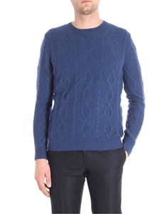 Etro - Blue denim crew neck pullover with knitted pattern