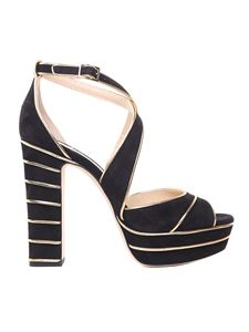 Jimmy Choo - Sandalo April 120 nero e oro ebccc26c5bc