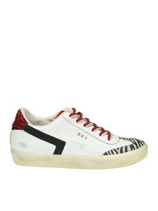 Leather Crown - Leather sneakers with animalier inserts