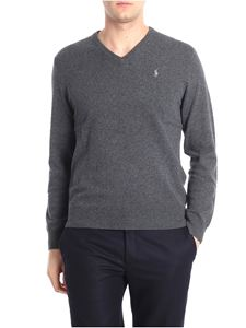 POLO Ralph Lauren - Gray V-neck pullover with logo embroidery