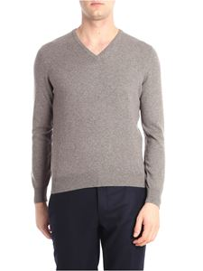 Barba - Dove grey V-neck pullover