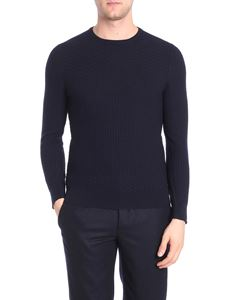 Barba - Dark blue embossed fabric pullover