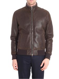 Barba - Brown leather bomber jacket