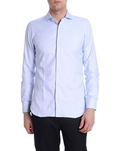 Barba - Light blue shirt with micro checked pattern