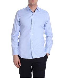 Barba - Light blue micro houndstooth shirt