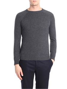 Isaia - Anthracite cashmere pullover with embroidered logo