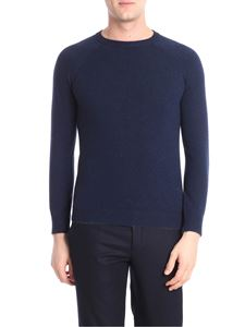 Isaia - Blue cashmere pullover with embroidered logo
