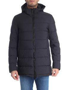 Herno - Black long hooded down jacket