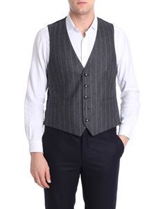 Lardini - Pinstriped gray and blue waistcoat