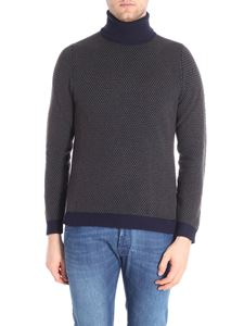 Zanone - Blue and green turtleneck pullover
