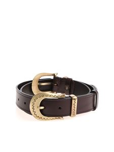 Alberta Ferretti - Brown belt with opaque golden buckles