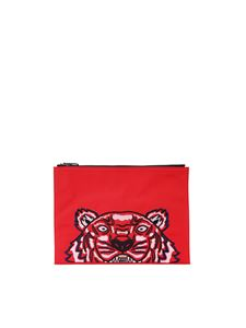 Kenzo - Red canvas Tiger clutch