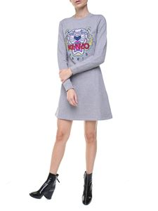 Kenzo - Grey Tiger flared sweat dress