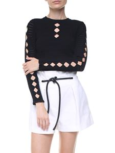 Kenzo - Black stretch knitted pullover with cut-outs