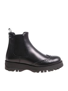 Prada - Black leather Chelsea with top-stitching