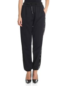 Pinko Uniqueness - Black Depilatore trousers with patent insert
