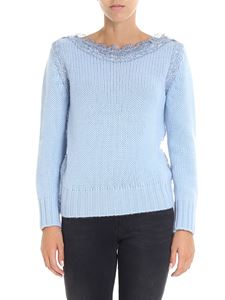 Ermanno Scervino - Light blue pullover with lace details