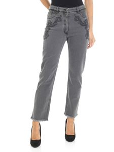 Etro - Grey crop jeans with Paisley embroidery