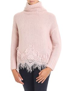 Ermanno Scervino - Powder pink tricot pullover with macramé lace