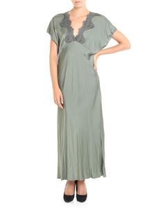 Pink memories - Army green dress with lace detail