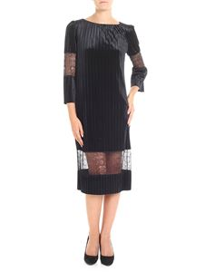 Blumarine - Black pleated dress with nude effect detail