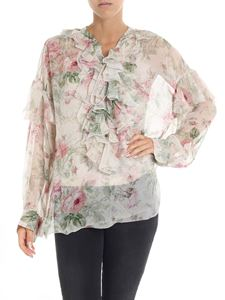 POLO Ralph Lauren - Floral print beige blouse with ruffled details