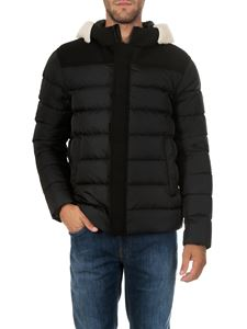 Herno - Black down jacket with fabric inserts