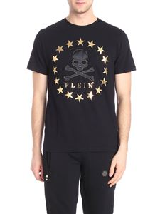Philipp Plein - Black t-shirt with golden stars print