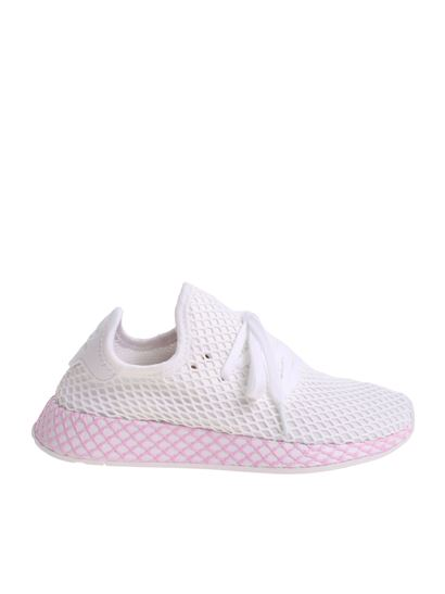 adidas Originals Deerupt Sneakers In White And Lilac