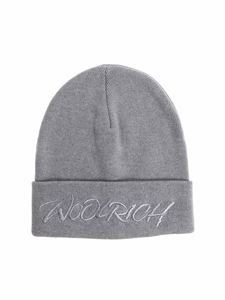 Woolrich - Gray beanie with embroidered logo