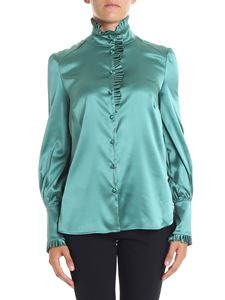 True Royal - Green shirt with pleated inserts