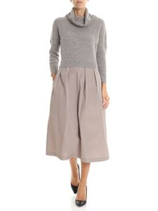 Peserico - Dove grey dress with knitted top