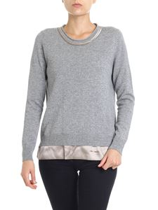 Peserico - Gray pullover with pink silk inserts