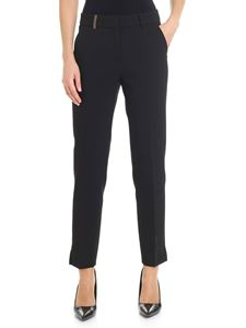 Peserico - Black trousers with brown insert