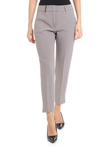 Peserico - Dove grey trousers with brown insert