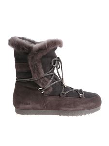 MOON BOOT - Gray Far Side High Shearling Moon Boots