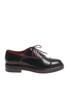 Santoni - Black Oxford with burgundy edges