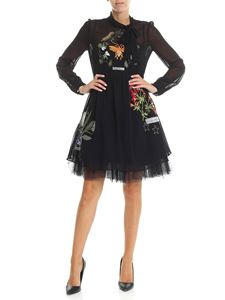 Red Valentino - Black dress with multicolor floral embroidery