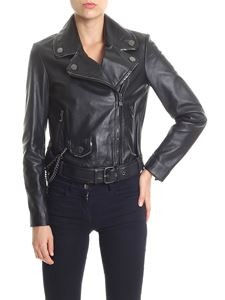 Moschino Boutique - Black leather jacket with chains