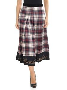 Shirtaporter - Tartan printed skirt with embroidery