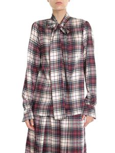 Shirtaporter - Tartan printed shirt with ribbon