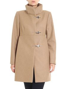 Fay - Cappotto color cammello in lana a collo alto