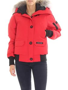 Canada Goose - Red Ladies bomber jacket with knitted edges