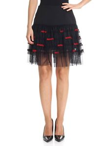 Pinko Uniqueness - Black Baffi embroidered tulle skirt