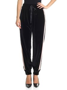 Blugirl - Black velvet trousers with pink inserts