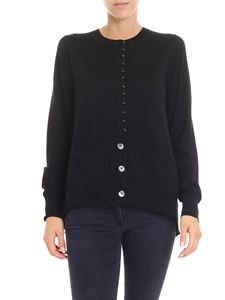 Sacai - Black cardigan with satin insert