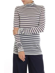 Semicouture - Gray and ivory striped turtleneck