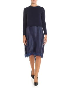 Semicouture - Blue viscose dress with knitted top